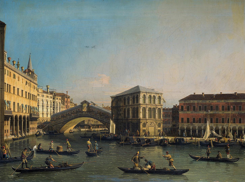 Giovanni Antonio Canal, genannt Canaletto (1697–1768): Venedig, Rialtobrücke und Fondaco dei Tedeschi, um 1750.