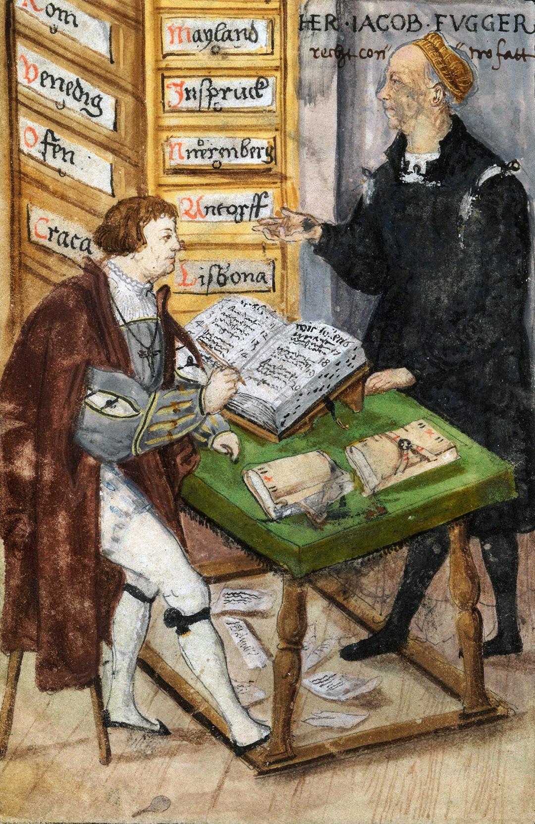 Jakob Fugger (1459–1525) und sein Buchhalter Matthäus Schwarz (1497–1574) am Hauptsitz der Firma am Rindermarkt in Augsburg, um 1520.