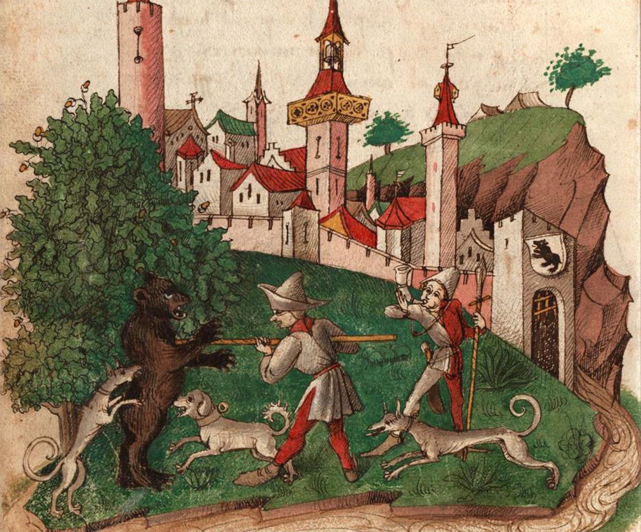 Herzog Berchtold V. von Zähringen tötet den Bären.