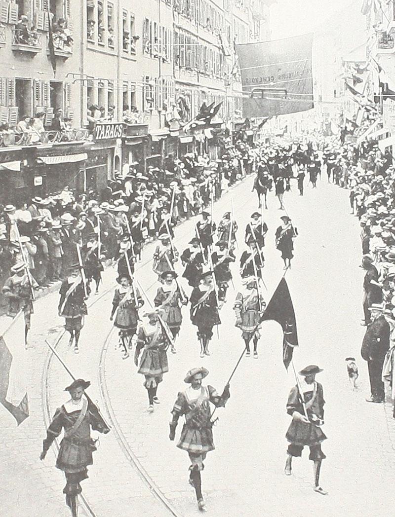 Parade of the Exercice de l'Arquebuse society in Geneva in 1903.