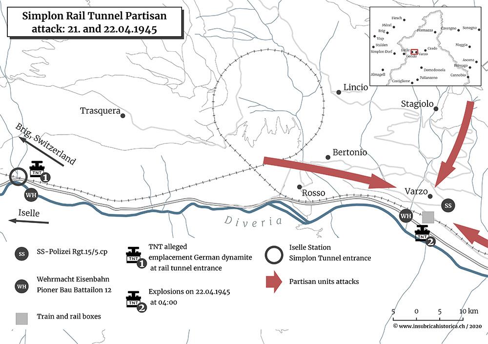 Cartographie de l'attaque menée par les partisans à Varzo le 22 avril 1945.