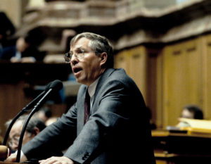 Le conseiller national Christoph Blocher, en 1992.