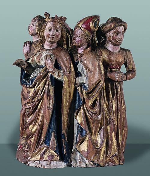 Le groupe de personnages représentant sainte Ursule et ses compagnons.