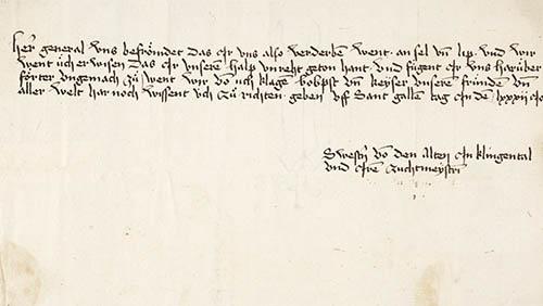 Lettre de protestation des sœurs réformistes au couvent de Klingental adressé au pape le 16octobre1482.