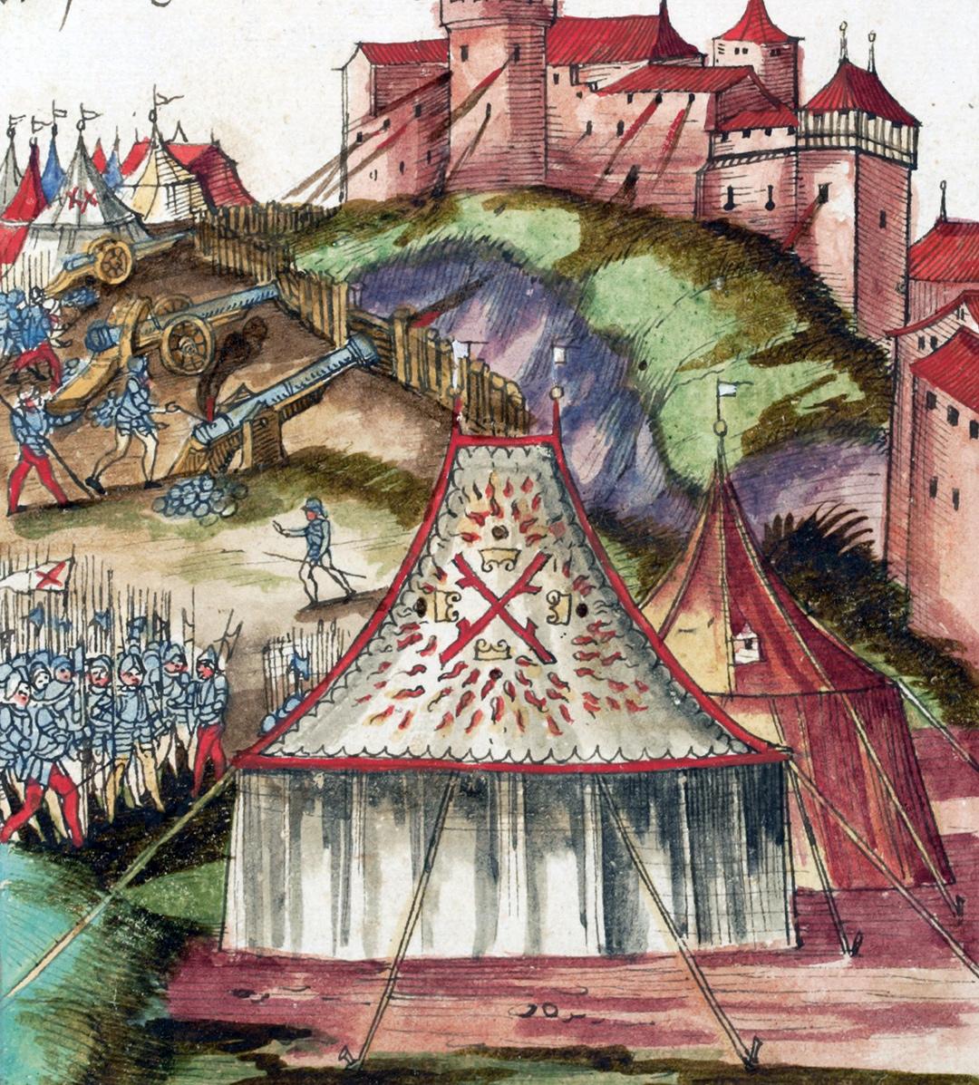 Die Belagerung der Burg Grandson durch die Burgunder.