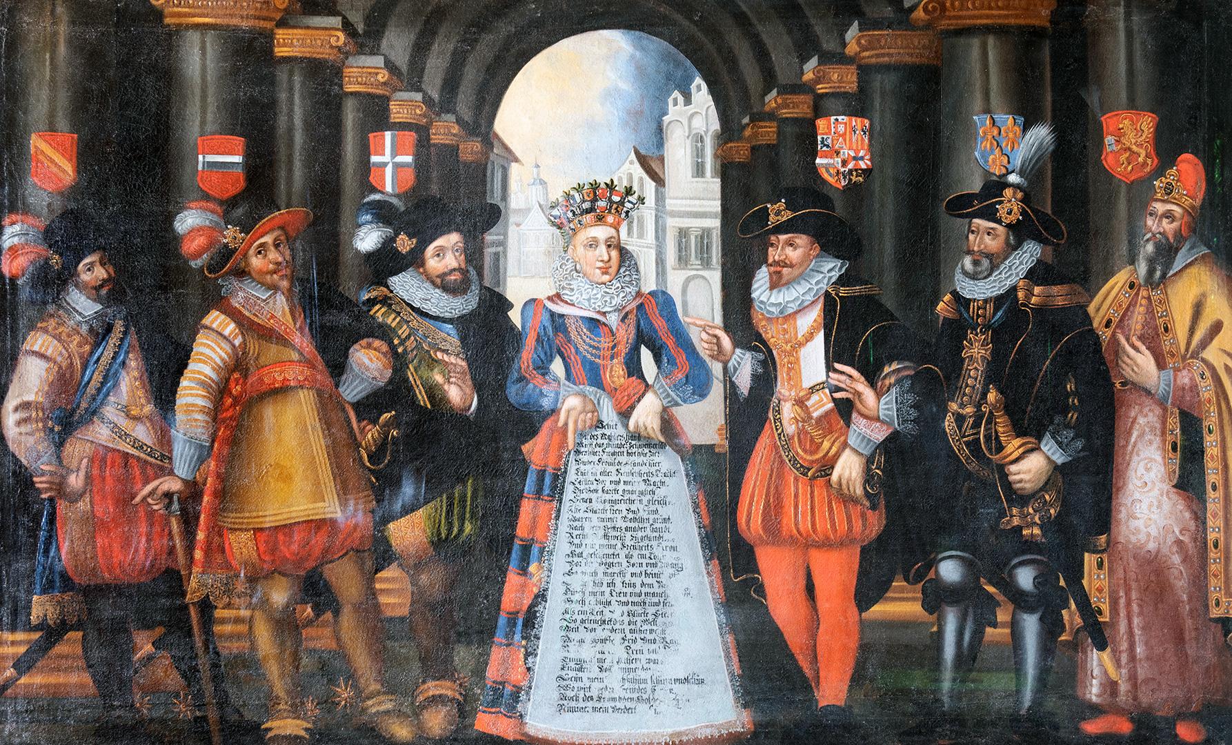 Helvetia und Europa. Zum ersten Mal wird die künftige Landespatronin 1612 personifiziert. Der Maler ist nicht bekannt.