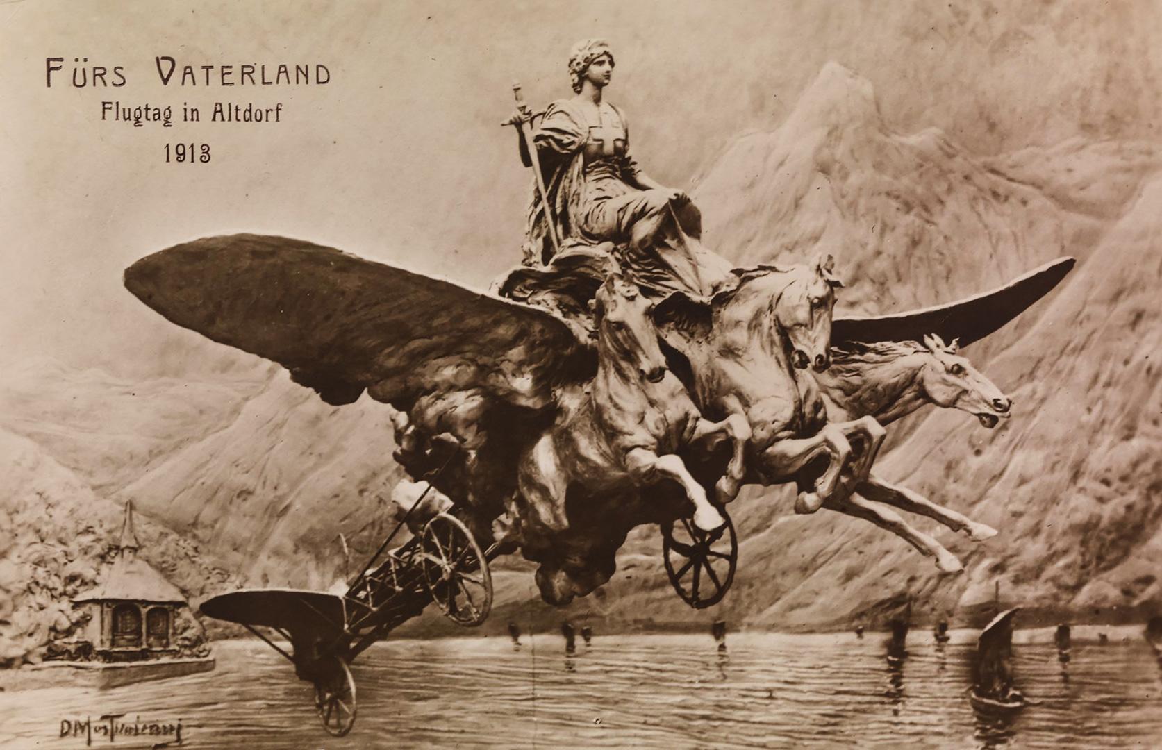 «Fürs Vaterland. Flugtag in Altdorf 1913». Helvetia wirbt für die Schweizer Luftwaffe.