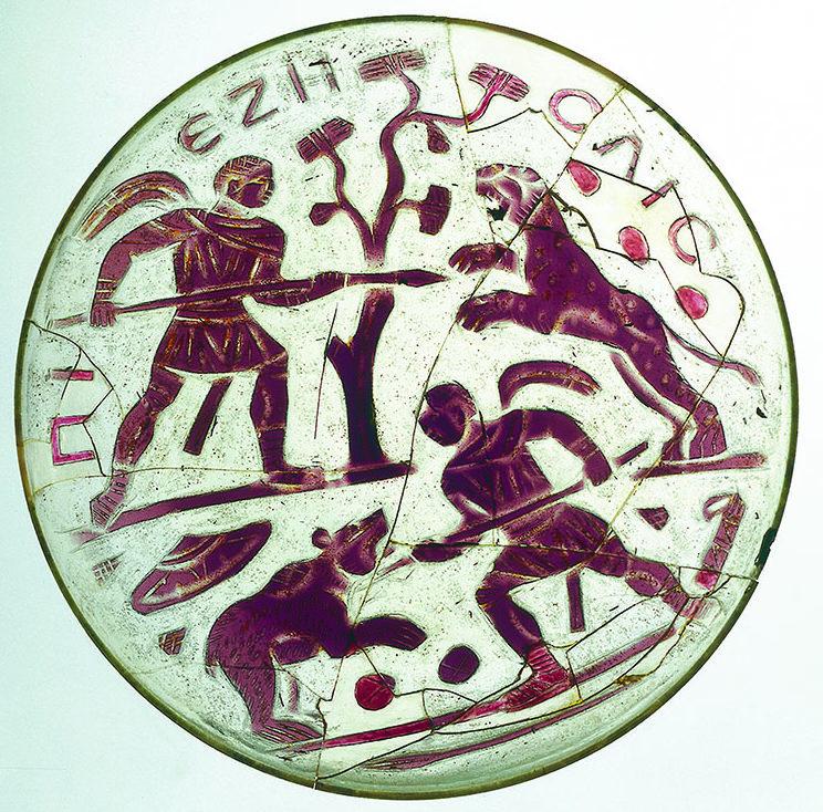 Coupe en verre représentant une scène de chasse et découverte à Stein am Rhein.