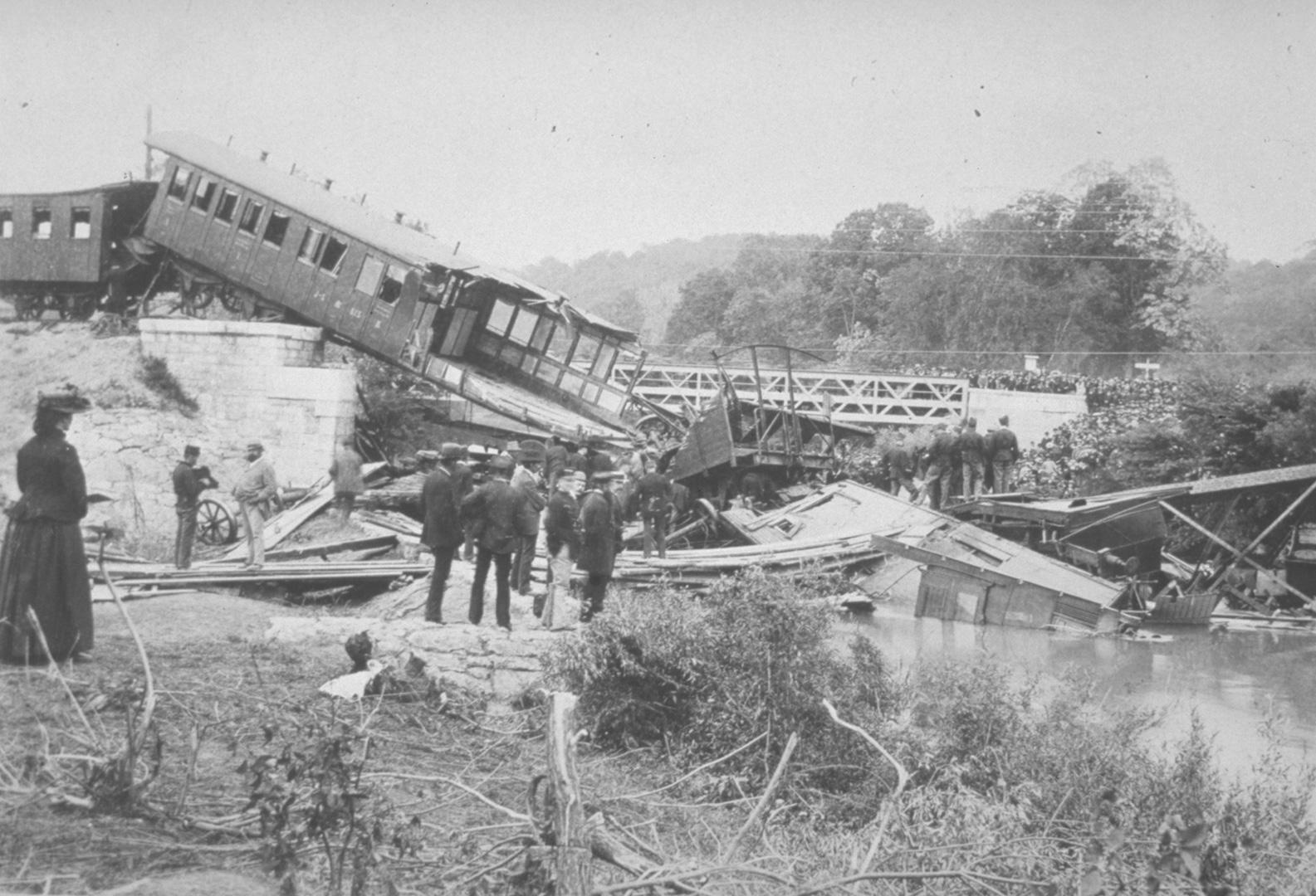 Das Eisenbahnunglück von Münchenstein lockte viele Gaffer an.