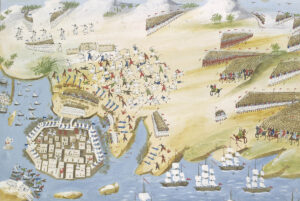The Siege of Missolonghi, depicted by Greek painter Panagiotis Zographos.