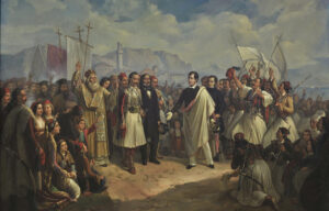 Lord Byron's arrival in Missolonghi. Painted by Theodoros Vryzakis, 1861.