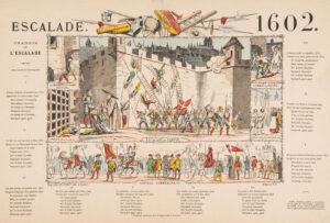 Graphic print of the Escalade, circa 1850. The text of the 'Chanson de l'Escalade' can be seen in the margin.