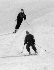 Princess Diana and Prince Charles skiing in Klosters on March 9, 1988.