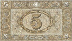 Die 5-Franken-Reservenote aus der zweiten Banknotenserie von 1911 (Vorderseite).