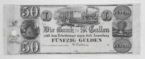 50-Gulden-Note aus St. Gallen, 19. Jahrhundert.