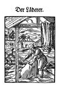 Le tanneur en train d'écharner une peau de bête. Extrait du «livre des métiers» (Ständebuch) de Jost Ammann, Francfort-sur-le-Main, 1568.