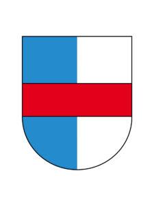 Les armoiries de la famille Gundoldingen: le blason argent et azur de Lucerne, avec fasce de gueules de l'Autriche, symbole parfait du rôle charnière historique de Petermann von Gundoldingen.