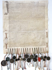 Fac-similé du traité de paix de Fribourg signé en 1516 entre la France et la Confédération. Le traité reconnaît définitivement Bellinzone comme territoire de l'ancienne Confédération.