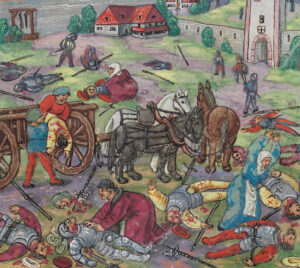 The warfare of the Swiss was cruel. The troops had to swear not to take prisoners. After the battle at Constance, women and clergy collect the bodies of Constance's citizens on the battlefield.