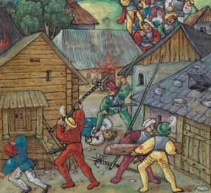 Like Maienfeld in this illustration, many towns in Graubünden, especially those in the Upper Engadine, were destroyed at the hands of the Austrians during the war.