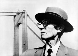 Othmar Ammann in front of the Verrazano Narrows Bridge, around 1960.