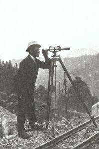 Othmar Ammann during an internship at the Montreux-Berner Oberland-Bahn, around 1903.