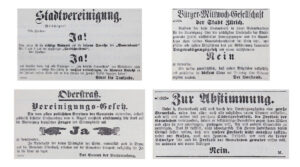 Tous ne souhaitaient pas la fusion. Campagne de votation dans le Tagblatt der Stadt Zürich, 1891.