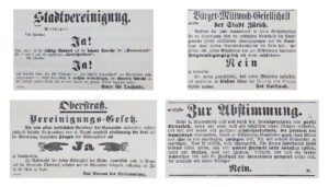 Not everyone was in favour of incorporation. Voting publicity in the Tagblatt der Stadt Zürich newspaper, 1891.