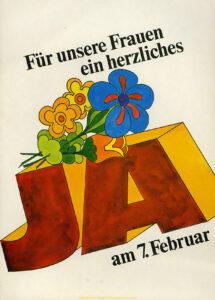 Plakat für das Frauenstimmrecht, 1971.