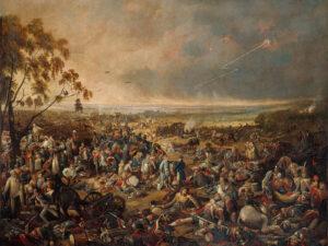 Am Morgen nach der Schlacht von Waterloo am 19. Juni 1815. Gemälde von John Heaviside Clark und Matthew Dubourg, um 1816.