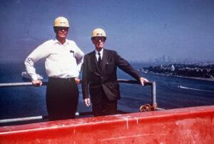 Ammann during construction of the Verrazano-Narrows-Bridge in New York, around 1964.
