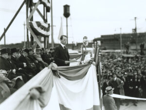 Ammann speaks at the inauguration of the Bayonne Bridge, November 14, 1931.