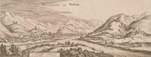 Vue de la ville de Bellinzone, communément appelée «Bellenz», vers 1642.