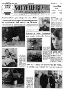 Front page of the Nouvelle Revue de Lausanne of 20 February 1969 featuring a detail of the photograph (top left).