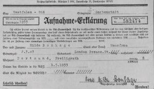 Déclaration d'adhésion à la «NS-Frauenschaft» (ligue national-socialiste des femmes), 1933.