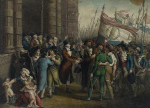 Der Aufstand der Pariser Sansculotten vom 31. Mai bis zum 2. Juni 1793 beendete die Herrschaft der Girondisten. Szene vor dem Konvent, Gravur von Jean-Joseph-François Tassaert (1765-ca.1835).