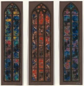 Augusto Giacometti, projet des trois vitraux dans le chœur de l'église Saint-Martin à Coire, 1920, pastel, 54,5 x 94 cm, Bündner Kunstmuseum Chur, inv. CON_03067, prêt de longue durée de la fondation Werner Coninx.