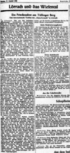 Article de presse consacré à la première rencontre internationale des Amis de la nature après la guerre, organisée à Lörrach avec la participation de Suisses. Badische Zeitung du 17 août 1948.