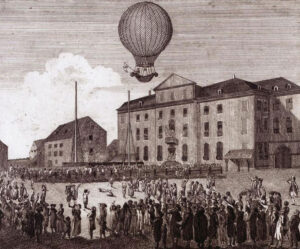 L'ascension en ballon de Blanchard à Bâle en 1788.