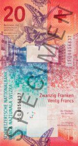 The new CHF 20 note.