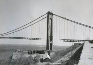 Construction of the Verrazzano-Narrows Bridge in March 1964.