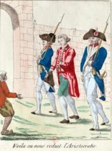 Caron de Beaumarchais est envoyé à la prison Saint-Lazare sur ordre de Louis XVI. Gravure, vers 1785.