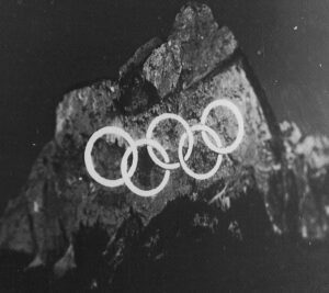 Projection during the 1956 Winter Olympics in Cortina d'Ampezzo.