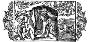 A mountain spirit and a little devil at work in a mine. Illustration from Olaus Magnus' 16th-century book.