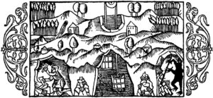 A Berggeist (mountain spirit, bottom right) gets up to his usual mischief. Illustration from Olaus Magnus' 16th-century book.
