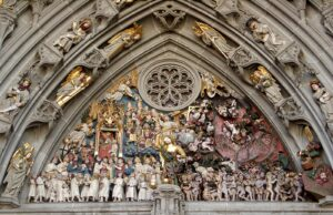 Bern Cathedral, tympanum over the main portal featuring the Last Judgement, 1460-1480; on the left are the chosen, on the right the damned, and in the centre the Archangel Michael with scales and sword.
