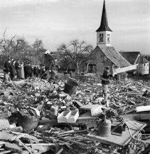 Destroyed houses in Rafz in February 1945.