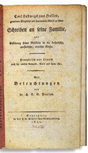 Titelseite der Schrift, in der Haller seine Konversion zum Katholizismus erklärt, 1821.