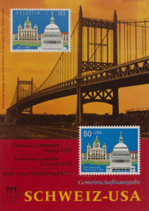 To mark the 700th anniversary of the Swiss Confederation in 1991, the US postal service and Swiss Post issued a joint postage stamp. The stamp depicts the Capitol in Washington and the federal parliament building, the Bundeshaus, in Bern.