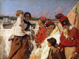 Anciennes chemises rouges (Camicie rosse) dans un tableau d'Umberto Coromaldi, 1898 (détail).
